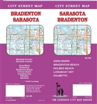 Sarasota Brandenton City Street Map. Includes Manatee County, Sarasota County, Anna Maria, Bradenton, Bradenton Beach, Holmes Beach, Longboat Key, Palmetto, Sarasota partial coverage.