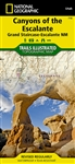 Canyons of the Escalante, Grand Staircase-Escalante National Monument Trail Map. Key points of interest include Fiftymile Bench, Escalante Petrified Forest State Park, Anasazi State Park Museum and Horse Canyon. Also Box-Death Hollow Wilderness, Capitol R