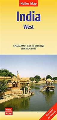Western India travel map. Featuring a new-style cover and easy fold system, this map of Western India is marked with tourist attractions and public transport systems, and includes inset maps of major cities. It provides information on hotels. The map incl