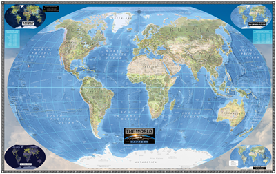 Modern World Wall Map. This map is a new and creative way to map the world. This map is designed for all ages. Is an excellent educational reference tool that shows the World in a new style. It's easily to read without requiring a magnifying glass, perfec