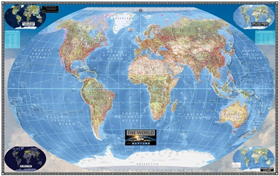 "Modern World Wall Map - Large. Measuring 56"" wide x 36"" tall this map is a new and creative way to map the world. This map is designed for all ages. Is an excellent educational reference tool that shows the World in a new style. It's easily to read withou"