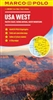 Western USA travel road map with an index map for six major cities. Covers the entire Pacific Coast or Western Seaboard, Sierra Nevada and the Rocky Mountains. Cities include Beverly Hills or Hollywood, Denver, LA or Los Angeles, Las Vegas, San Francisco