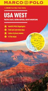 Western USA travel road map with an index map for six major cities ...