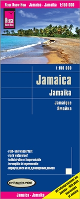 Jamaica Travel & Road Map. A waterproof map that includes all of Jamaica. This map includes photographs of popular areas around Jamaica to give visitors an idea of the areas. This map is equipped with roads including secondary roads, railways, paths, ferr