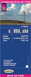 USA South road and travel map. Reise Know-How maps are double-sided multi-language, rip proof, waterproof maps with very modern cartographic style. Each map is very clear and detailed with an index of place names and often include inset maps.