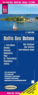 Baltic Sea travel map with details of cities. Includes the cities of Gdansk, Helsinki, Kobenhavn, Riga, St Petersburg, Stockholm add Tallinn. ​Reise Know How maps (world mapping project series) are easy to read, waterproof and highly durable travel maps