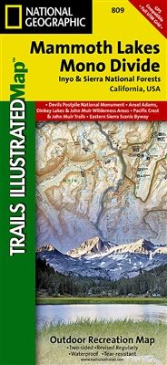 Mammoth Lakes Mono Divide Inyo and Sierra National Forests by National Geographic map. This Trails Illustrated map features Ansel Adams Wilderness, Courtright Reservoir, Dinkey Lakes Wilderness, Inyo National Forest, John Muir Wilderness, Kings Canyon Nat