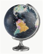 Orion - 12 inch Illuminated World Globe. You don't see a black globe, let along one that light's up, every day. There is just something about black ocean globes. The Orion, with its 12 inch globe is on a solid steel base and has a quality die-cast semi-me