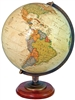 Adams 12 inch Executive World Globe - Illuminated. The Adams globe offers a distinguished look and features an illuminated antique ocean globe ball and a rich, walnut finished solid hardwood base. The die-cast antique plated semi-meridian perfectly comple
