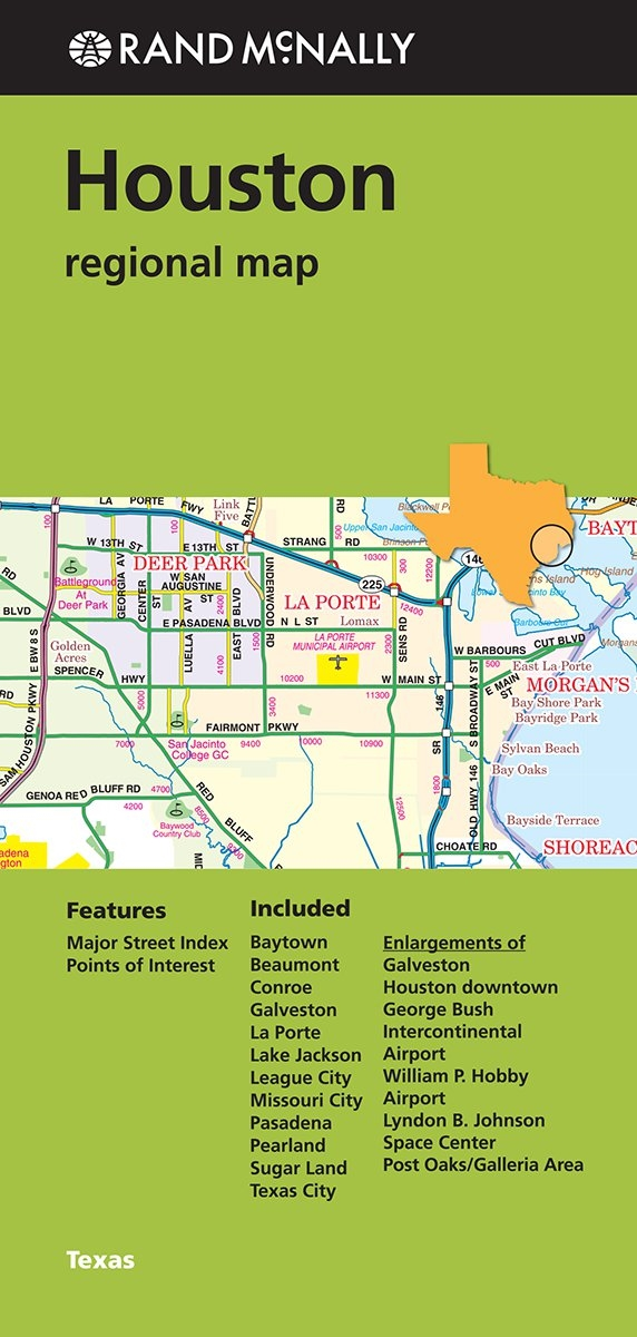 Houston Texas Regional map. Includes Baytown, Beaumont, Conroe ...