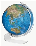 Consulate - 12 inch Illuminated globe. The Consulate is the perfect partnership between modern design and functionality. The acrylic, swans neck consulate base features a 12 Inch blue ocean, raised relief two-way map. The perfect accent piece for any room