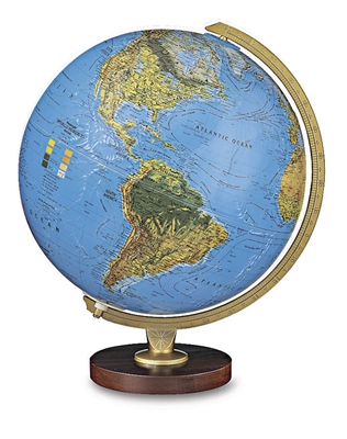Livingston - 12 inch Illuminated Desk Globe. The Livingston is traditionally styled, with a hardwood base and die-cast semi-meridian. The two-way map design of this 12 inch globe provides a standard view of the physical world or an illuminated display of