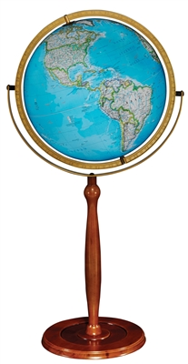 National Geographic Chamberlin - 16 inch Floor Globe. The Chamberlin is the perfect essence of attractive practicality. This 16 inch illuminated blue ocean globe has a walnut colored stand. Its full swing meridian lets you easily view any part of the wor