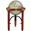 National Geographic Jameson - 16 inch Floor Globe. This modern world globe is designed in antique parchment style. The solid hardwood base is very intricate and it's heavy wrought iron metal stretcher is strong and adds to the beauty of this globe. The 16