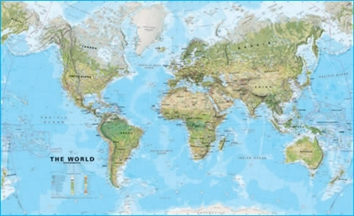 World Wall Map Physical Large. This environmental (physical) world wall map is a fantastic representation of the world's environmental terrain and the different environmental categories - tundra, forests, deserts etc. Country borders and major cities are