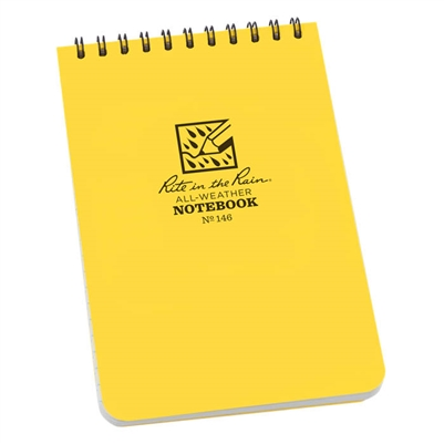 "Rite in the Rain notebook - Pocket Top Spiral Yellow. These are the truly go-anywhere, anytime, in any weather waterproof notebooks. The pocket top-spiral notebooks are conveniently sized to take with you on your outings. With a Polydura cover 4"" x 6"""