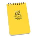 "Rite in the Rain Notebook - Pocket Top Spiral - Yellow. This waterproof 3"" x 5"" Top-Spiral Notebook is small enough to fit comfortably in your pocket and tough enough to survive any of Mother Nature's onslaughts. This scrappy pocket notebook will survive"