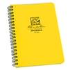 "Rite in the Rain - Side Spiral Notebook Yellow. This waterproof note book comes with 4 5/8"" x 7"" size pages, a Polydura cover and side spiral wire-o binding. 64 pages (32 sheets). Use a regular pen or pencil with this product and protect your notes, even"