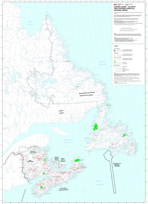 Atlantic Provinces First Nations Wall Map. This map shows all First Nations on the East Coast of Canada. Includes the provinces of Newfoundland & Labrador, New Brunswick, PEI and Nova Scotia. Includes Indian Reserves, Settlements, Parks, Communities and o
