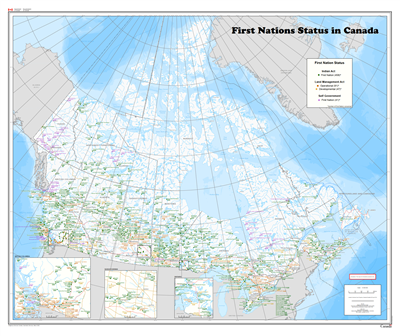 First Nations in Canada Wall Map. This base map of Canada shows all Indigenous or First Nation Reserves in Canada. Each reserve status, name and number is depicted, including those that fall under the Indian Act (458 First Nations), the Land Management Ac