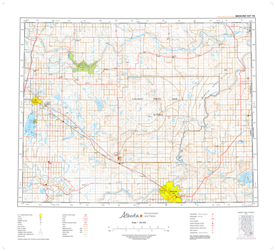 AB072L - MEDICINE HAT - Topographic Map. The Alberta 1:250,000 scale paper topographic map series is part of the Alberta Environment & Parks Map Series. They are also referred to as topo or topographical maps is very useful for providing an overview of a