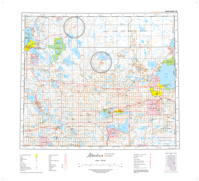 AB073L - SAND RIVER - Topographic Map. The Alberta 1:250,000 scale paper topographic map series is part of the Alberta Environment & Parks Map Series. They are also referred to as topo or topographical maps is very useful for providing an overview of an a