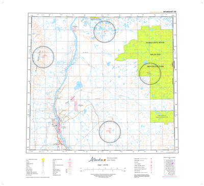 AB074E - BITUMOUNT - Topographic Map. The Alberta 1:250,000 scale paper topographic map series is part of the Alberta Environment & Parks Map Series. They are also referred to as topo or topographical maps is very useful for providing an overview of a