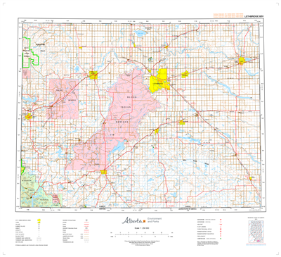 AB082H - LETHBRIDGE - Topographic Map. The Alberta 1:250,000 scale paper topographic map series is part of the Alberta Environment & Parks Map Series. They are also referred to as topo or topographical maps is very useful for providing an overview of a