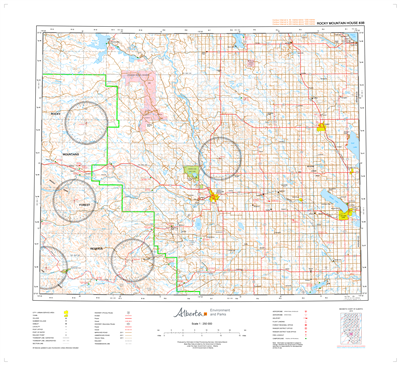 AB083B - ROCKY MOUNTAIN HOUSE - Topographic Map. The Alberta 1:250,000 scale paper topographic map series is part of the Alberta Environment & Parks Map Series. They are also referred to as topo or topographical maps is very useful for providing an overvi