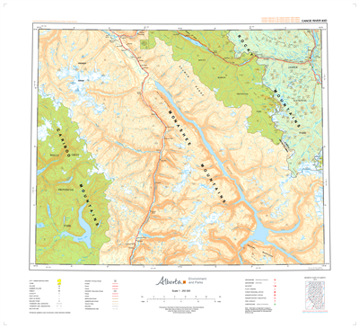 AB083D - CANOE RIVER - Topographic Map. The Alberta 1:250,000 scale paper topographic map series is part of the Alberta Environment & Parks Map Series. They are also referred to as topo or topographical maps is very useful for providing an overvi