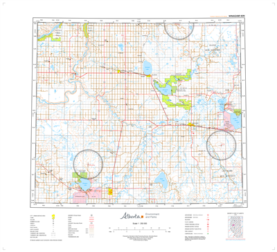 AB083N - WINAGAMI - Topographic Map. The Alberta 1:250,000 scale paper topographic map series is part of the Alberta Environment & Parks Map Series. They are also referred to as topo or topographical maps is very useful for providing an overview of an are