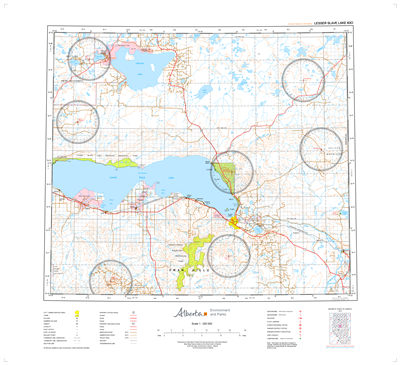 AB083O - LESSER SLAVE LAKE - Topographic Map. The Alberta 1:250,000 scale paper topographic map series is part of the Alberta Environment & Parks Map Series. They are also referred to as topo or topographical maps is very useful for providing an overview