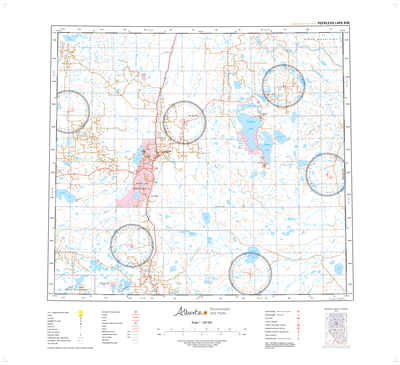 AB084B - PEERLESS LAKE - Topographic Map. The Alberta 1:250,000 scale paper topographic map series is part of the Alberta Environment & Parks Map Series. They are also referred to as topo or topographical maps is very useful for providing an overview of a