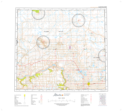 AB084D - CLEAR HILLS - Topographic Map. The Alberta 1:250,000 scale paper topographic map series is part of the Alberta Environment & Parks Map Series. They are also referred to as topo or topographical maps is very useful for providing an overview of an