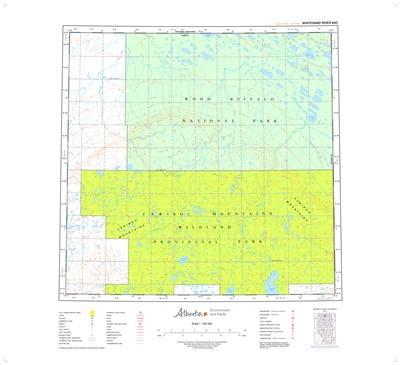 AB084O - WHITESAND RIVER - Topographic Map. The Alberta 1:250,000 scale paper topographic map series is part of the Alberta Environment & Parks Map Series. They are also referred to as topo or topographical maps is very useful for providing an overview of