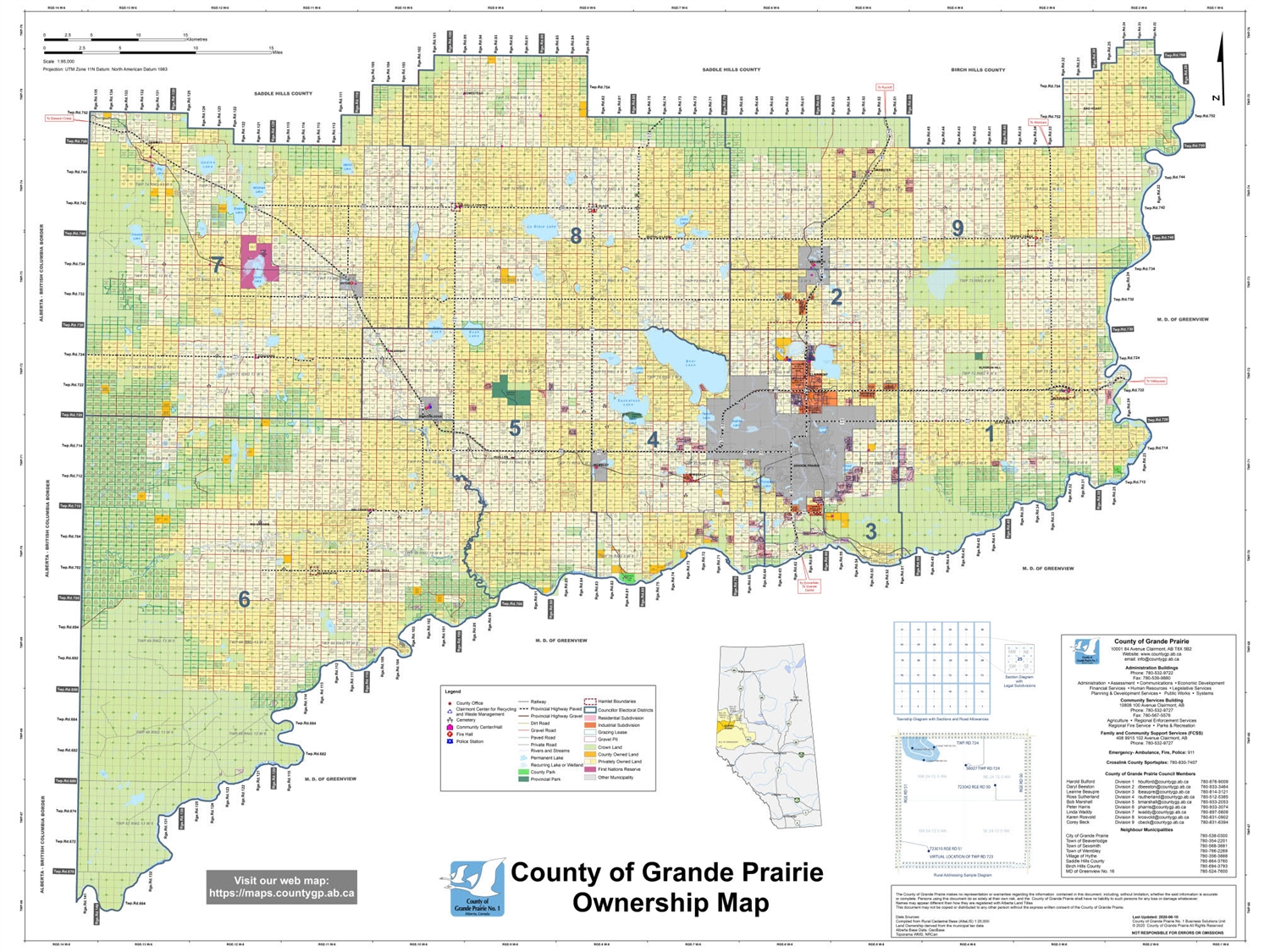 Alberta County Map Grande Prairie County Landowner map   County 1. County and