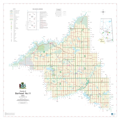 Barrhead County Landowner map - County 11. County and Municipal District (MD) maps show surface land ownership with each 1/4 section labeled with the owners name. Also shown by color are these land types - Crown (government), Freehold (private) and Crown