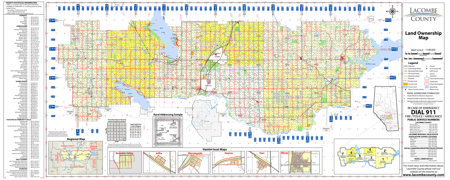 Lacombe County Map Lacombe County Landowner map   County 14. County and Municipal