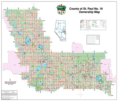 St. Paul County Landowner map - County 19. County and Municipal District (MD) maps show surface land ownership with each 1/4 section labeled with the owners name. Also shown by color are these land types - Crown (government), Freehold (private) and Crown