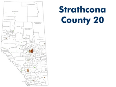 Strathcona County Landowner Map - County 20. County and Municipal District (MD) maps show surface land ownership with each 1/4 section labeled with the owners name. Also shown by color are these land types - Crown (government), Freehold (private) and Crow