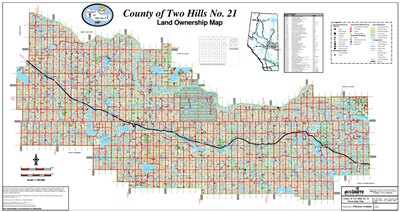Two Hills County Landowner map - C21. County and Municipal District (MD) maps show surface land ownership with each 1/4 section labeled with the owners name. Also shown by color are these land types - Crown (government), Freehold (private) and Crown Lease