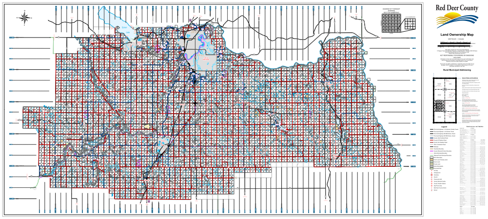 Red Deer County Map Red Deer County Landowner map   County 23. County and Municipal