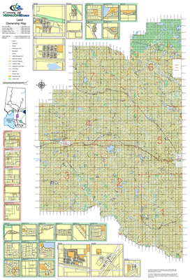 Vermilion River County Landowner map. County and Municipal District (MD) maps show surface land ownership with each 1/4 section labeled with the owners name. Also shown by color are these land types - Crown (government), Freehold (private) and Crown Lease