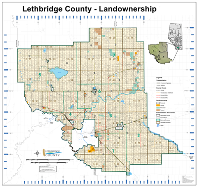 Lethbridge County Landowner map - County 26. County and Municipal District (MD) maps show surface land ownership with each 1/4 section labeled with the owners name. Also shown by color are these land types - Crown (government), Freehold (private) and Crow