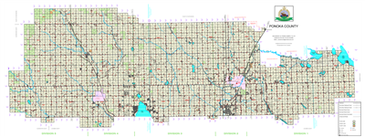 Ponoka County Landowner map - County 3. County and Municipal District (MD) maps show surface land ownership with each 1/4 section labeled with the owners name. Also shown by color are these land types - Crown (government), Freehold (private) and Crown Lea