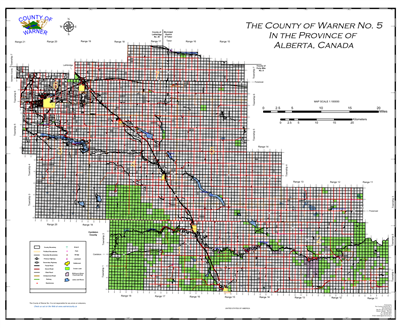 Warner County Landowner map - County 5. County and Municipal maps mainly exist to show land ownership with each 1/4 section labeled with the owners name. Also shown by color coding is the crown lands and leased lands. The maps are also very current for ro