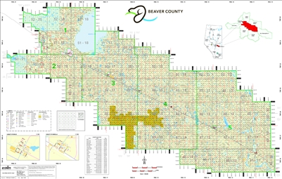 Beaver County Landownership map C9. Includes places such as Kinsella, Viking, Tofield and Holden. County and Municipal District (MD) maps show surface land ownership with each 1/4 section labeled with the owners name. Also shown by color are these land ty