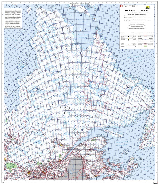 Carte Index Quebec.Quebec Provincial Base Map Nts 1 2 000 000