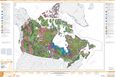 Surficial Geology of Canada. This detailed map shows surficial geological features such as glaciers including the glaciation extents and direction, colluvial deposits, alluvial sediments, glaciofluvial sediments, weathered bedrock or regolith and bedrock.