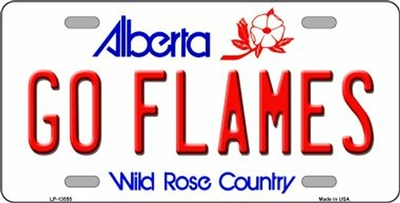 "Go Calgary Flames - Alberta Metal License Plate. Heavy duty metal that can go on the front of the car or in your man cave. This Wild Rose Country  6"" x 12"" automotive high gloss metal license plate tag. Made of the highest quality aluminum for a weather"